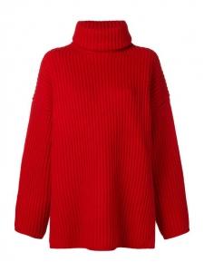 Pull DISA oversized col roulé en laine côtelé rouge vif Prix boutique $450 Taille S à M