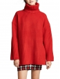DISA turtleneck oversized bright red ribbed wool sweater Retail price $450 Size S to M