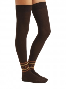 Intarsia brown and orange cotton-blend over-the-knee socks Retail price $150