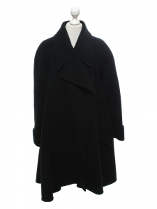 Black wool large winter coat Retail price €1900 Size 42