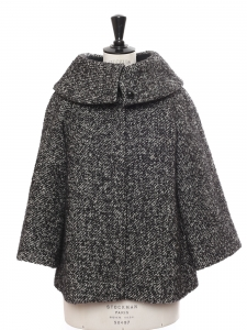 Black and white wool tweed cape style coat Retail price €2400 Size 36