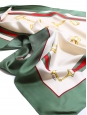 Red, green, cream white and yellow horse bit print silk twill square scarf Retail price €350 Size 63 x 63