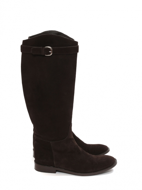 Black suede flat riding boots Retail price €800 Size 40