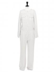Combinaison pantalon manches longues en crêpe blanc gris pâle Prix boutique 395€ Taille 38