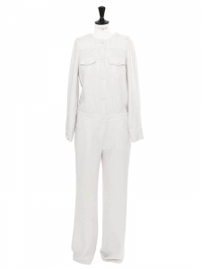 White light grey crepe long sleeves jumpsuit Retail price €395 Size 38