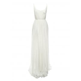 Robe de mariée JADE décolletée dos nu en mousseline de soie plissée blanc Prix boutique 4800€ Taille 34