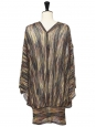 Dark blue, pale and yellow and burgundy metallic tunic dress with deep V neckline Retail price €1100 Size S