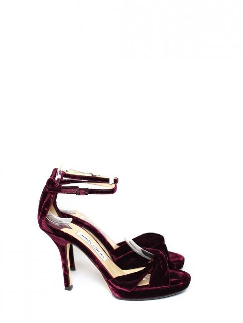 Sandales Macy en velours bordeaux prune et bride cheville Prix boutique 580€ Taille 40