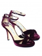 MACY Burgundy prune velvet stiletto heel sandals with ankle strap Retail price €580 Size 40
