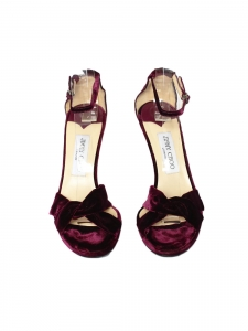 MACY Burgundy prune velvet stiletto heel sandals with ankle strap Retail price €580 Size 40