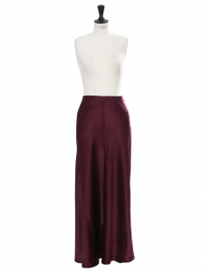 Merlot burgundy silk-satin maxi skirt Retail price $445 Size 40