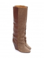 Camel brown suede and leather wedge boots Retail price €750 Size 37