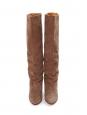 Bottes à talon compensé en cuir et suede beige camel Prix boutique 750€ Taille 37