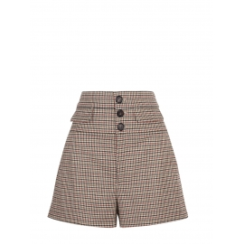 Short taille haute en tweed de laine beige khaki et bordeaux Prix boutique 590€ Taille 40