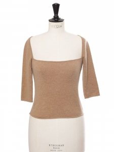 Short sleeves square neck camel cashmere wool top Retail price €600 Size 38
