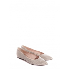 Beige grey stingray leather pointed-toe flat ballerina shoes Retail price €500 Size 37