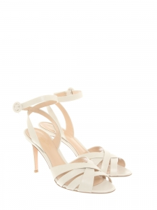 Cream white leather ankle strap heel sandals Retail price €620 Size 39