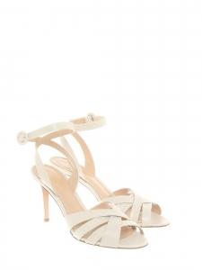 Sandales à talon, lanières et bride cheville en cuir blanc crème Prix boutique 620€ Taille 39