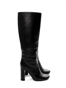 Black leather wooden heel boots Retail price €1000 Size 38.5