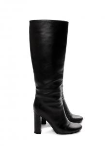 Bottes hautes à talon bois en cuir noir Prix boutique 1000€ Taille 38,5