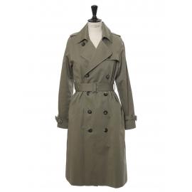 Manteau trench BARBARA en coton vert kaki et boutons écaille Prix boutique 540€ Taille 38