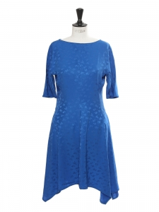Royal blue flower print jacquard short sleeves cinched dress Retail price €1345 Size 40