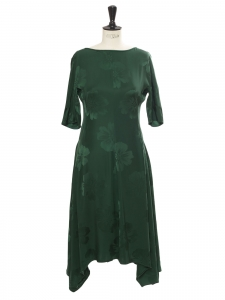 Imperial green Stoney Magnolia jacquard short sleeves dress Retail price €1345 Size 34