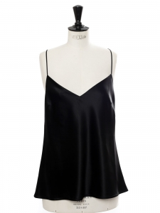 V-neck and deep open back black satin cami top Retail price €240 Size 42