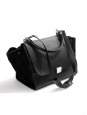 Medium size black grained and suede leather TRAPEZE handbag with strap Retail price €2200