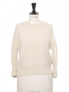 Beige cream round neck cashmere sweater Retail price €700 Size S