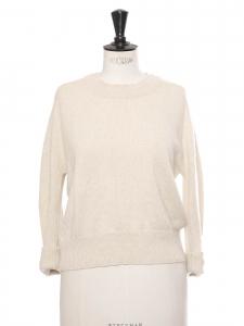 Pull col rond en cachemire épais beige crème Prix boutique 700€ Taille S