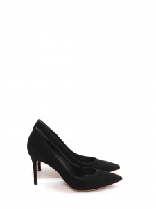 Escarpins en suède noir talon fin 9cm bout pointu NEUF Px boutique 500€ Taille 39