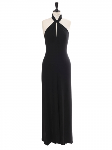 Black fitted maxi dress with plunging open back Retail price €900 Size 36