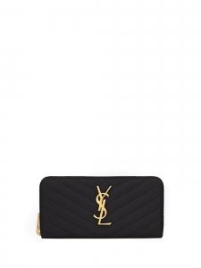 Grand portefeuille MONOGRAMME zippé en cuir noir embossé grain de poudre NEUF Prix boutique 595€