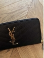 MONOGRAMME black textured leather long zipped wallet with gold signature NEW Retail price €595
