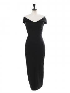 DELMI black off-the-shoulder scuba midi dress Retail price €600 Size S