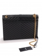 Large monogramme enveloppe bag in black textured leather with gold YSL signature NEW RRP €1950