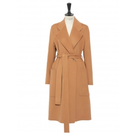 CARICE camel brown cashmere and wool belted double coat Retail price €1500 Size S