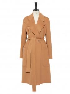 Manteau CARICE long ceinturé en cachemire et laine camel Prix boutique 1500€ Taille S