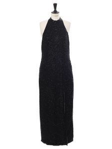 Black silk embroidered with beads evening maxi dress with open back, high slit and sleeveless Size L