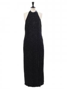Robe longue en soie noire brodée de perles, dos nu, épaules dénudées, fente haute Taille L