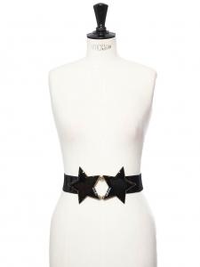 Ceinture iconique de Kate Moss élastique et cuir noir deux étoiles en laiton doré et acétate Taille M
