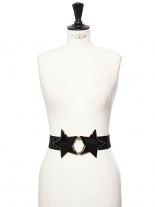 Iconic Kate Moss' black and gold double star elasticated and leather belt Size M