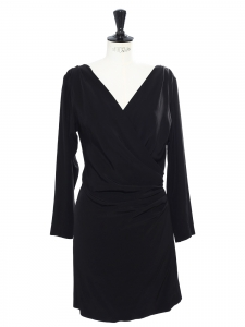 Black jersey deep décolleté mid-length Cocktail dress Retail price €1100 Size 36