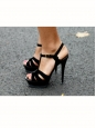 Black suede leather TRIBUTE stiletto sandals with gold buckle Retail price €650 Size 37