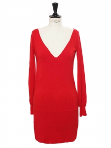 Bright red body con plunging sweet heart neckline and open back knit dress Retail price €1100 Size S