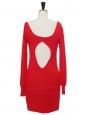 Robe moulante décolleté coeur plongeant et dos nu en maille rouge vif Prix boutique 1100€ Taille 36