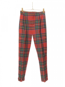 Red and green plaid print wool slim fit pants Retail price €770 Size 36