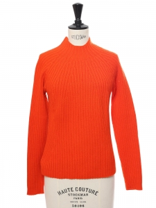 Bright orange ribbed wool high neck sweater Retail price €550 Size 36/38