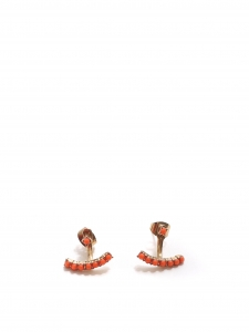 Gold and red stone earrings for pierced ears